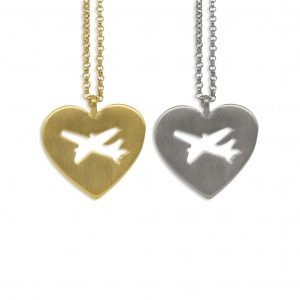 Take off aircraft heart necklace