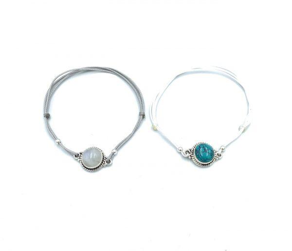 Phet Silver bracelet macrame turquoise MoonStone